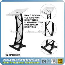 Aluminium acrylic wedding podium stand, modern acrylic lectern podium pulpit for sale
