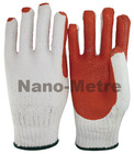 NMSAFETY white cotton knitted safety gloves/working glove red rubber on palm cheap price