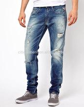 hombres de piedra de lavado rasgado delgado dril de algodón pantalones vaqueros