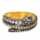 Brazalete de Serpiente en Oro Amarillo de 14k y Plata Esterlina 925 Brazalete de Serpiente con Diamantes Incrustados