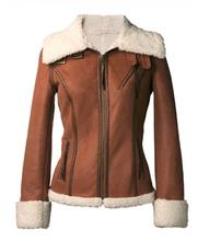 Ladies fake leather coat with zipper