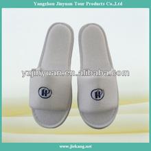 embroidery logo open toe hotel terry towel slipper