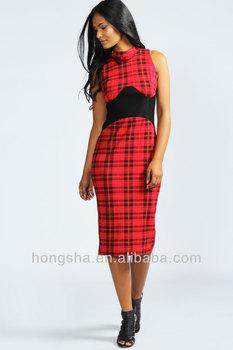 2013 Lady Knee Length Red Tartan Midi Bodycon Dress Hss-921