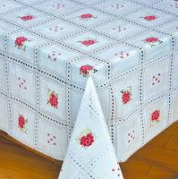 wholesale unique roll machine printed,elegant white vinyl lace table cloths