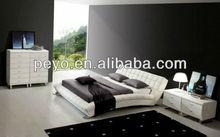 Modern Black Genuine Leather Upholstered Soft Bed B05