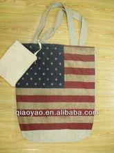 Fashion wholesale printed cotton linen shopping bag
