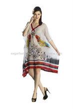 nueva llegada 2014 kaftan estampados de algodón con bordados de largo tamaño