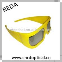 yellow plastic frame linear polarized 3d glasses,plastic eyewear