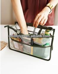PVC Pockets Inserted Foldable Polyester Handbag Women Bag in Bag Organizer