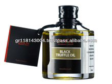 Black truffle aroma olive oil with a dried black truffle