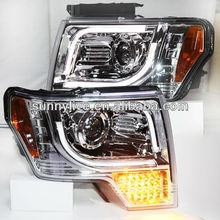 Completo llevó a su vez la señal de luz para ford raptor f150 tira de led de la lámpara cabeza 2013-14 año chrome vivienda v4