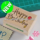 Happy birthday cards wooden rubber stamp , Kid toy