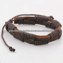 Leather Bracelet Necklace Fashion Jewelry for Men and Women