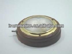 Teak/Stamped Polished Brass TEAK DOME LIGHT