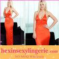 venta al por mayor de color rosa transparente manga larga vestidos de noche y vestidos