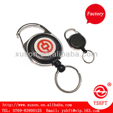 Round retractable badge reel with zinc alloy housing trim with rotatable belt clip