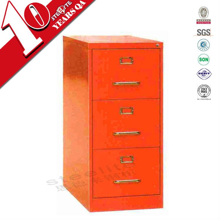 Sous le bureau rouge brillant m tallique verticale 3 for Meuble bureau 3 tiroirs