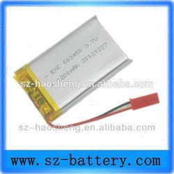 High quality GPS 3.7v 603450 li polymer rechargeable 1000mah lipo battery
