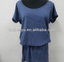 100% Cotton Wholesale Slming Plus Size Long Pattern Stripe Ladies T-shirt Dress
