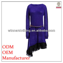 latest fashion special designed long sleeve sweater dress with belt