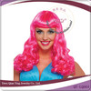 cheap long curly hot pink party wig
