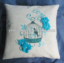 linen cushion cover, embroidery bird cushion
