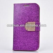 (Dark Purple) Luxury Wallet Flip Glitter Wallet Leather Case for Galaxy S4