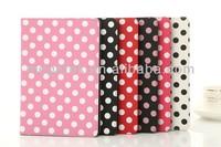 tablet case cover Polka dot folio leather case for ipad mini,for ipad case dot ,for ipad mini case folio