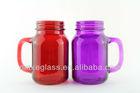 600ml colored glass mason jar with handle