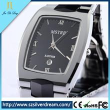 Fashion hot sale Sapphire tungsten steel vogue Ceramic Dual Material male table calendar watch