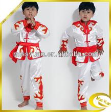 White Real Silk Performance children dance costumes