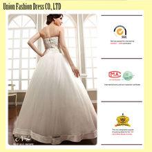Pur blanc western country style longueur de plancher puff robe de bal robe de mariée en satin rubans bow très sexy robes de mariée 2015