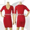 red short blue party dress designer make-up dress H177 deep v neck red dress