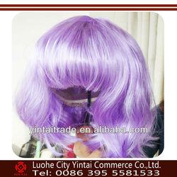 New popular fashion style cheap kanekalon purple halloween wigs