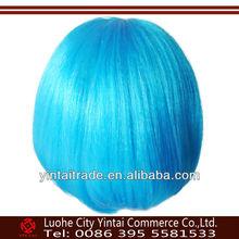 Hot selling best quality fashion style cheap kanekalon cheap BLUE party wig,hatsune miku cosplay