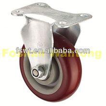 Medium Duty Fixed PU dual wheel caster For Furniture, Hardware, Trolley