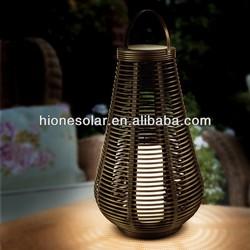 Column Rattan Decking Solar Lantern