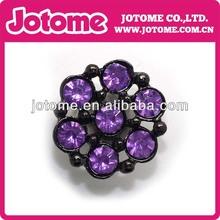 Black Plating Metal Purple Diamond Flower Assorted Embellishment Rhinestone Button Wedding Decoration