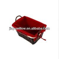 Christmas empty wicker baskets wholesale Red corduroy fabric
