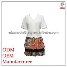 Elegante color brillante v- cuello de manga corta de hawai vestidos de blanco con tapas