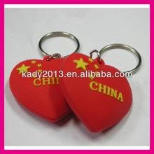 red heart keyring, rubber heart keyring, red heart key holder
