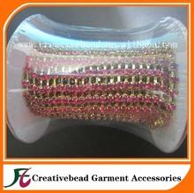 Rose crystal rhinestone 4mm gold chain trim sewing wedding jewelry