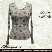 OEM/ODM Factory Direct Latest long sleeve flower print slim fit new model t shirts