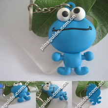 Wholesale Custom Design Cute Frog PVC Single-sided Animal Bead Keychain Patterns For 2014 New Year Gifts Promotion