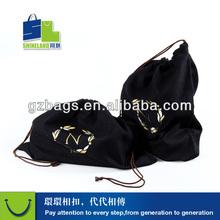 gold foil screen printed drawstring bag cotton