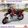 "Mini Dirt Bike Gasoline MN-D184 2 stroke 49cc Pull Start Max Speed 60km/h with 10"" rubber wheel"