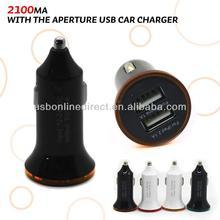 New design 2100mA universal USB Car charger for mobile phone Black+Orange aperture