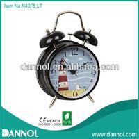 4inch Quartz Metal Retro double Bell pillow alarm clock