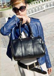 Fashion Pure Color Concise All-match Handbag Black Satchel Ladies Purses Hot New