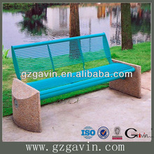 Elegant sandstone park bench with powder coating round steel tubing stone park bench